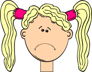 Sad Girl With Blonde Hair And Pigtails Clip Art at Clker.com.