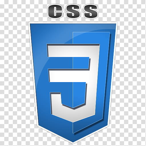 Css Badge, blue and white CSS icon transparent background.