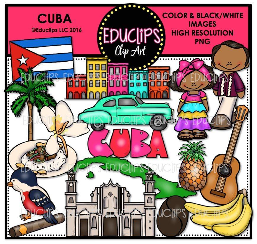 Cuba Clip Art Bundle (Color and B&W).
