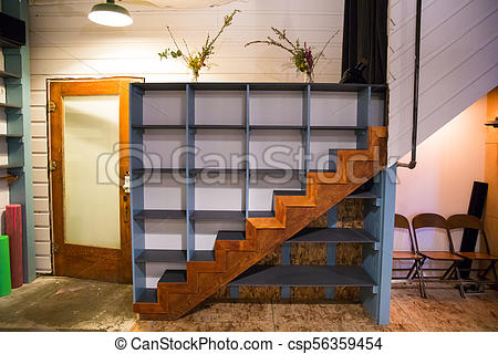 Staircase Cubbies at Yoga Studio.