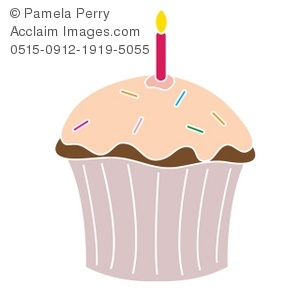 Clip Art Illustration of a Cupcake With a Birthday Candle.