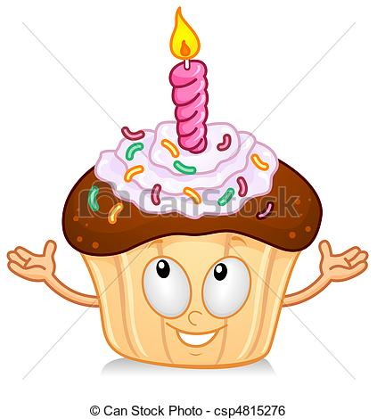 Stock Illustration of Cupcake With Candle Gesture.