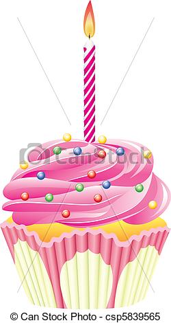 Clipart Vector of cupcake with burning candle.