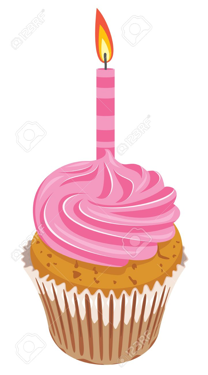 Vector Clipart Of Pink Cupcake With Burning Candle Royalty Free.