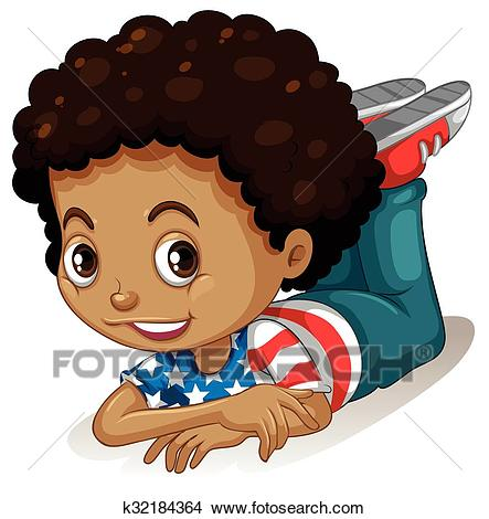 Little boy with curly hair Clipart.