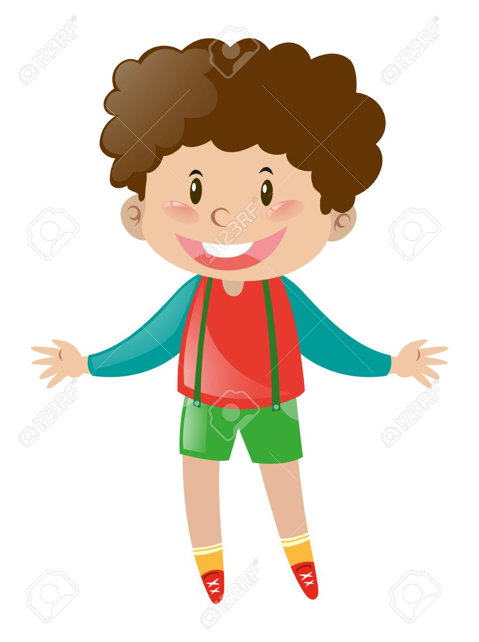 Little boy with brown curly hair illustration.