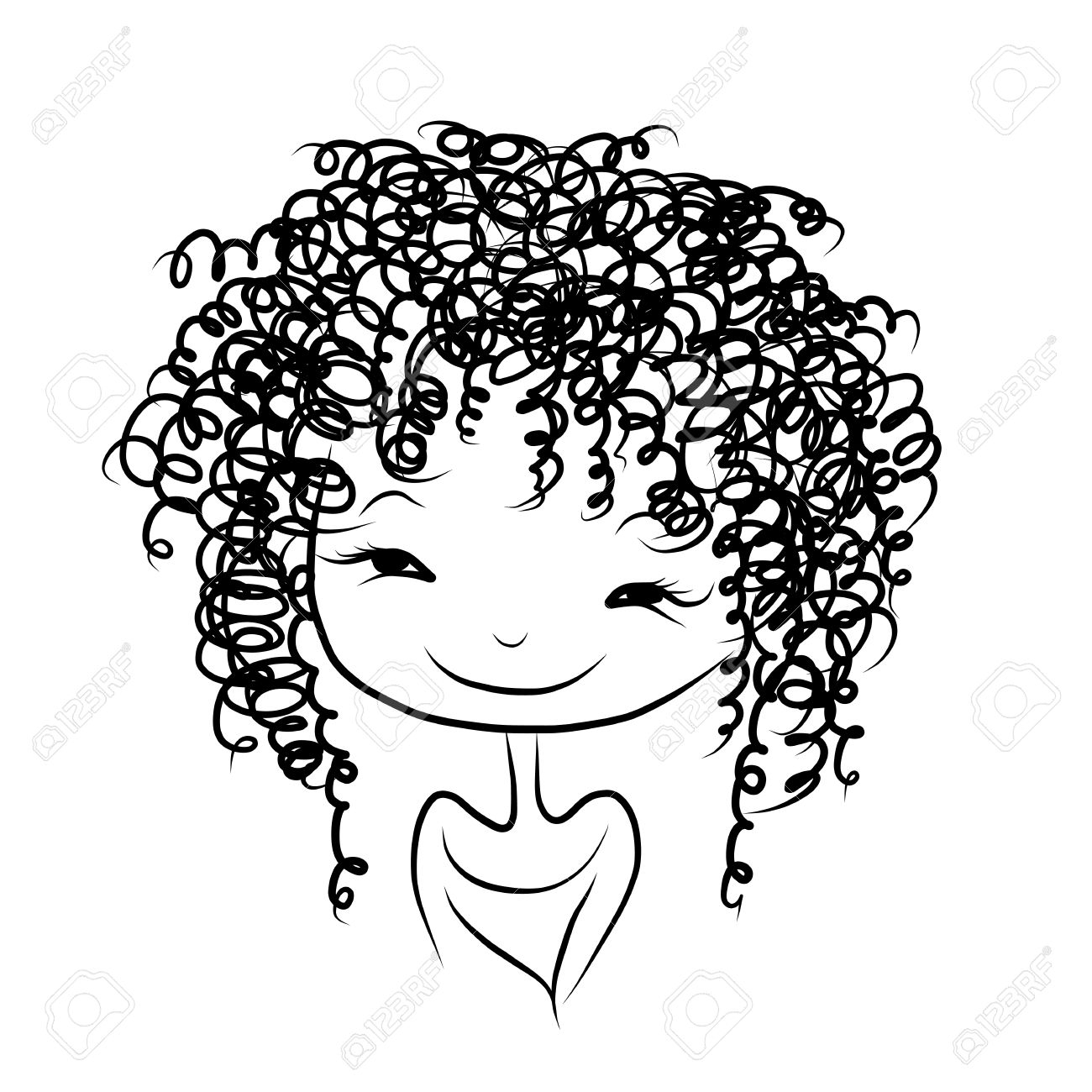 Curly hair girl clipart clipartfest » Clipart Station.