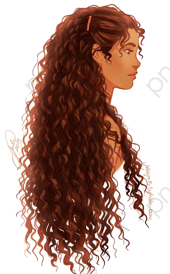 Curly Hair Girl, Cartoon Girl, Side, Curls PNG Transparent Image and.