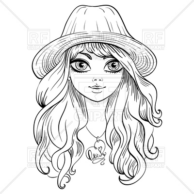 Beautiful girl in hat with long curly hair Vector Image.