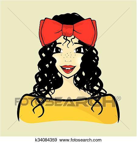 Curly hair girl Clip Art.