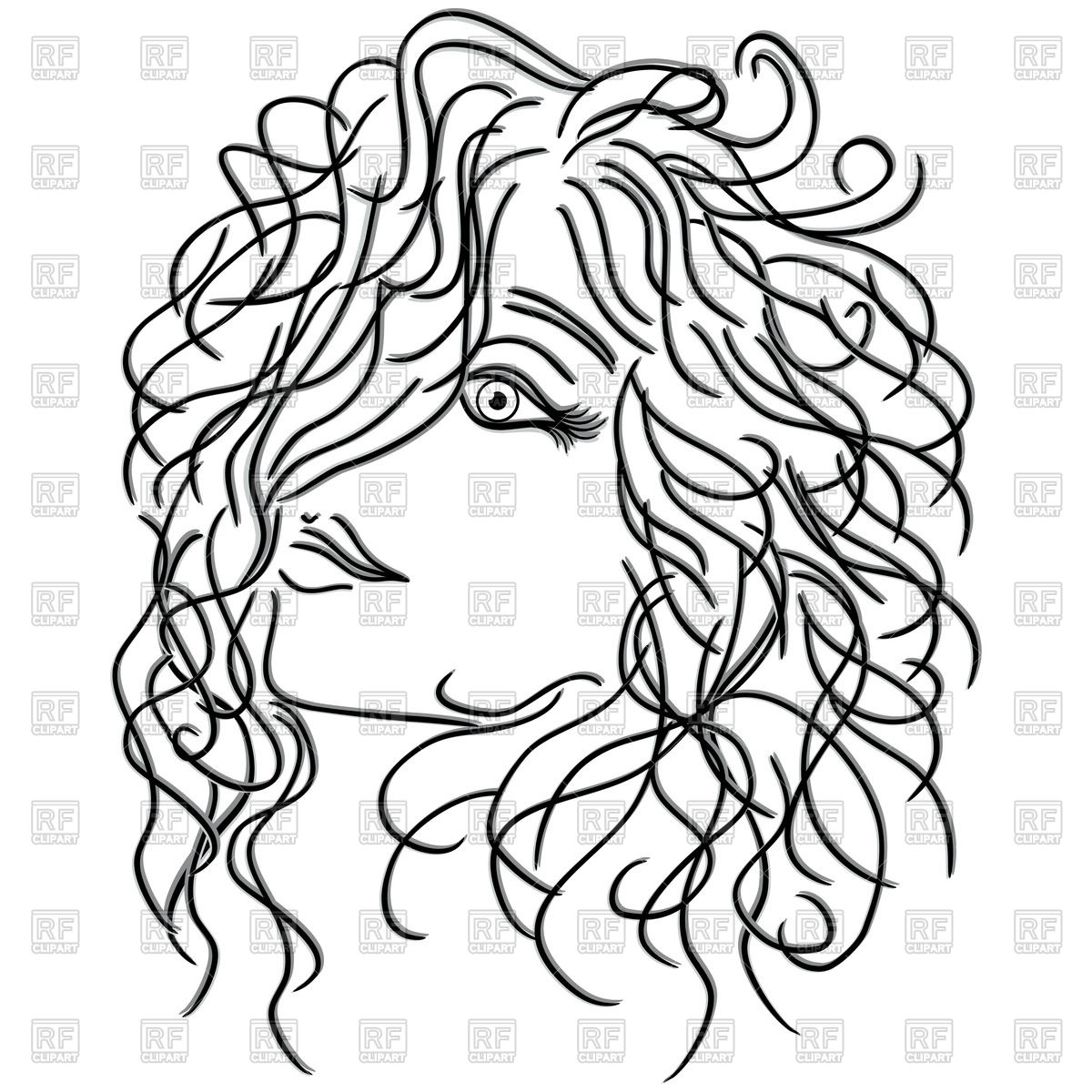 Girl with flowing curly hair, sketch Stock Vector Image.