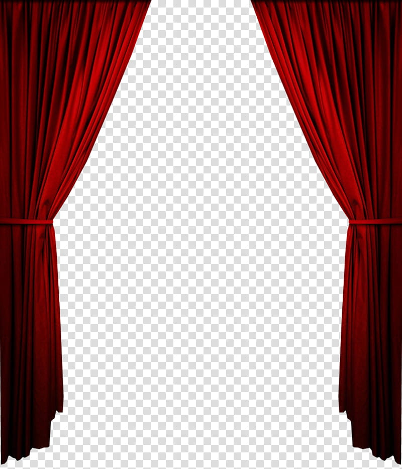 Red curtain transparent background PNG clipart.
