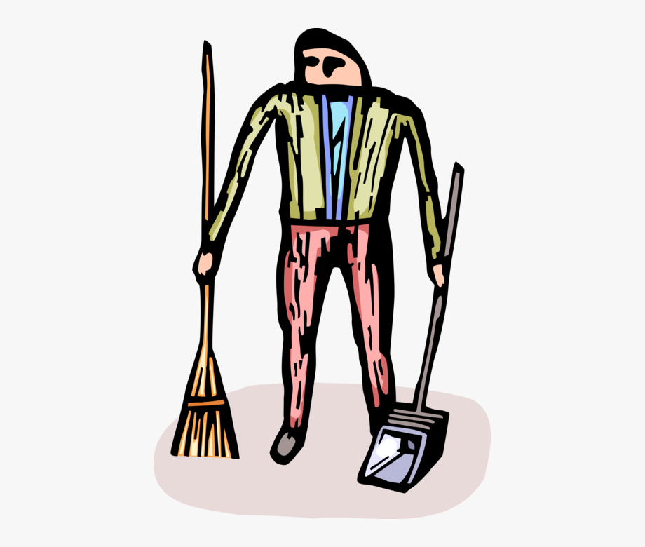 Vector Illustration Of School Janitor Custodian With.