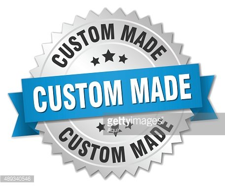 custom made 3d silver badge with blue ribbon Clipart Image.