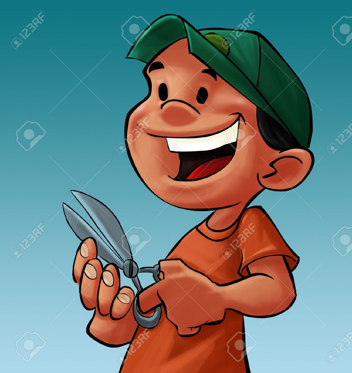 Showing post & media for Cartoon boy cutting with scissors.