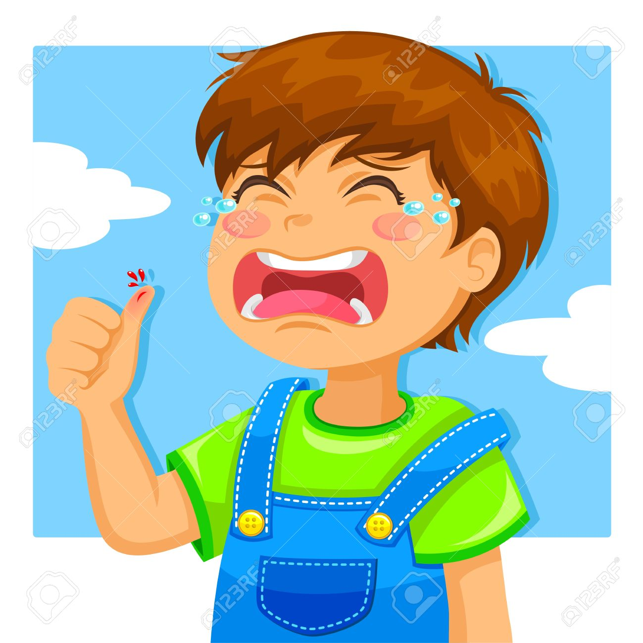 Little Boy Crying Because Of A Cut On His Thumb Royalty Free.
