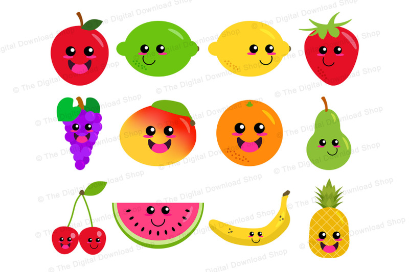 Happy Fruit Clipart, Cute Fruit Graphics, Kawaii Food, Healthy Food.