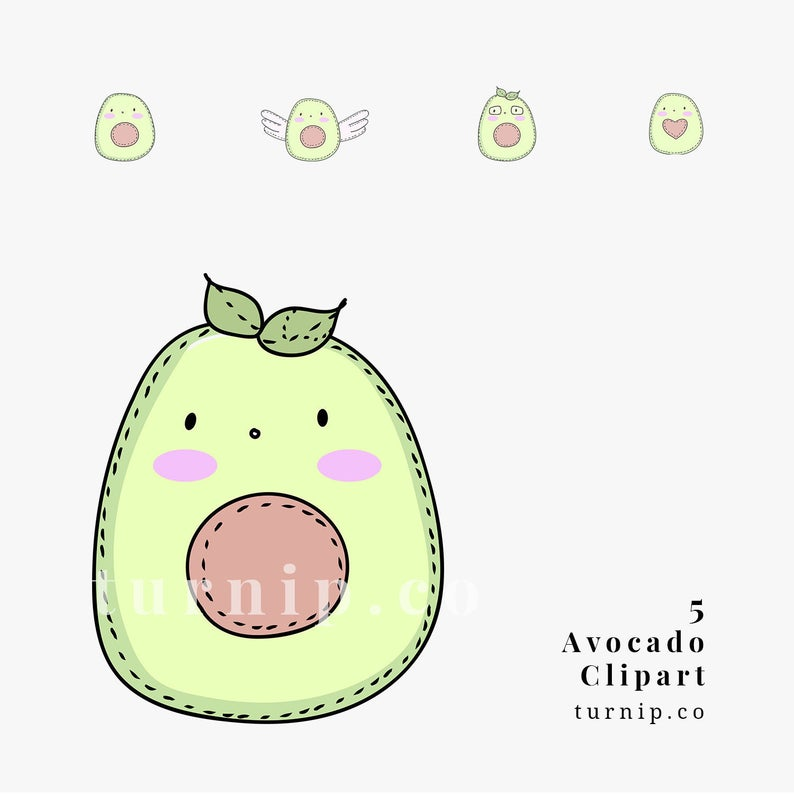 Avocado Clipart, Cute Avocado Clipart, Avocado Cartoon Image Clipart,  Avocado PNG and Vector Commercial Use Clipart, Avocado Cartoon Drawing.