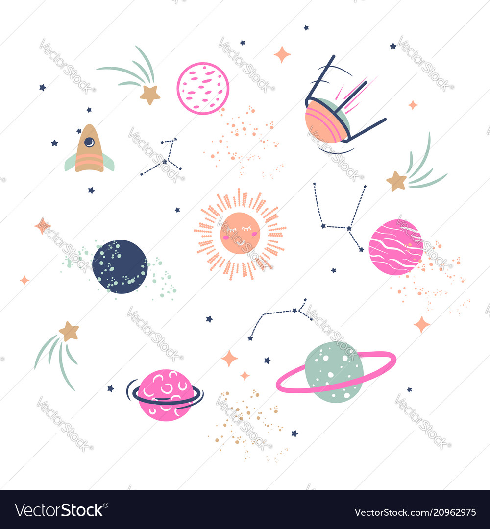 Cute planets clipart for kids.