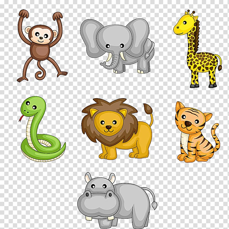 Assorted animals illustration, Cartoon Wildlife , Cute.