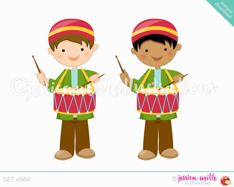 Christmas Drummer Boy Cute Digital Clipart, Cute Boy Drummer Clip art,  Christmas Graphics, Christmas Clipart, Drummer Boy Illustration, #664.