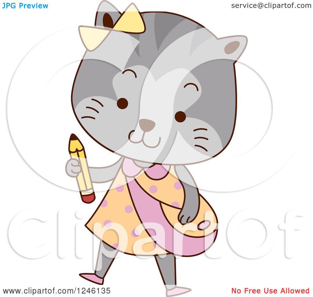 Clipart of a Cute School Cat Girl.