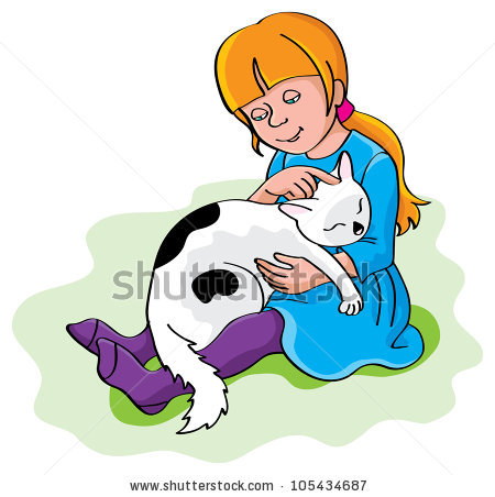 Girl Hugging Cat Stock Images, Royalty.