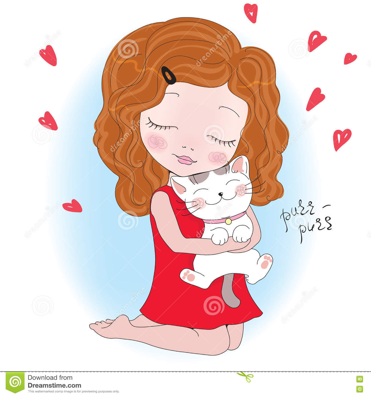 Vector Illustration Of A Cute Girl With Cat Stock Vector.