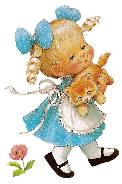 Cute Girl with Cat Free Clipart.
