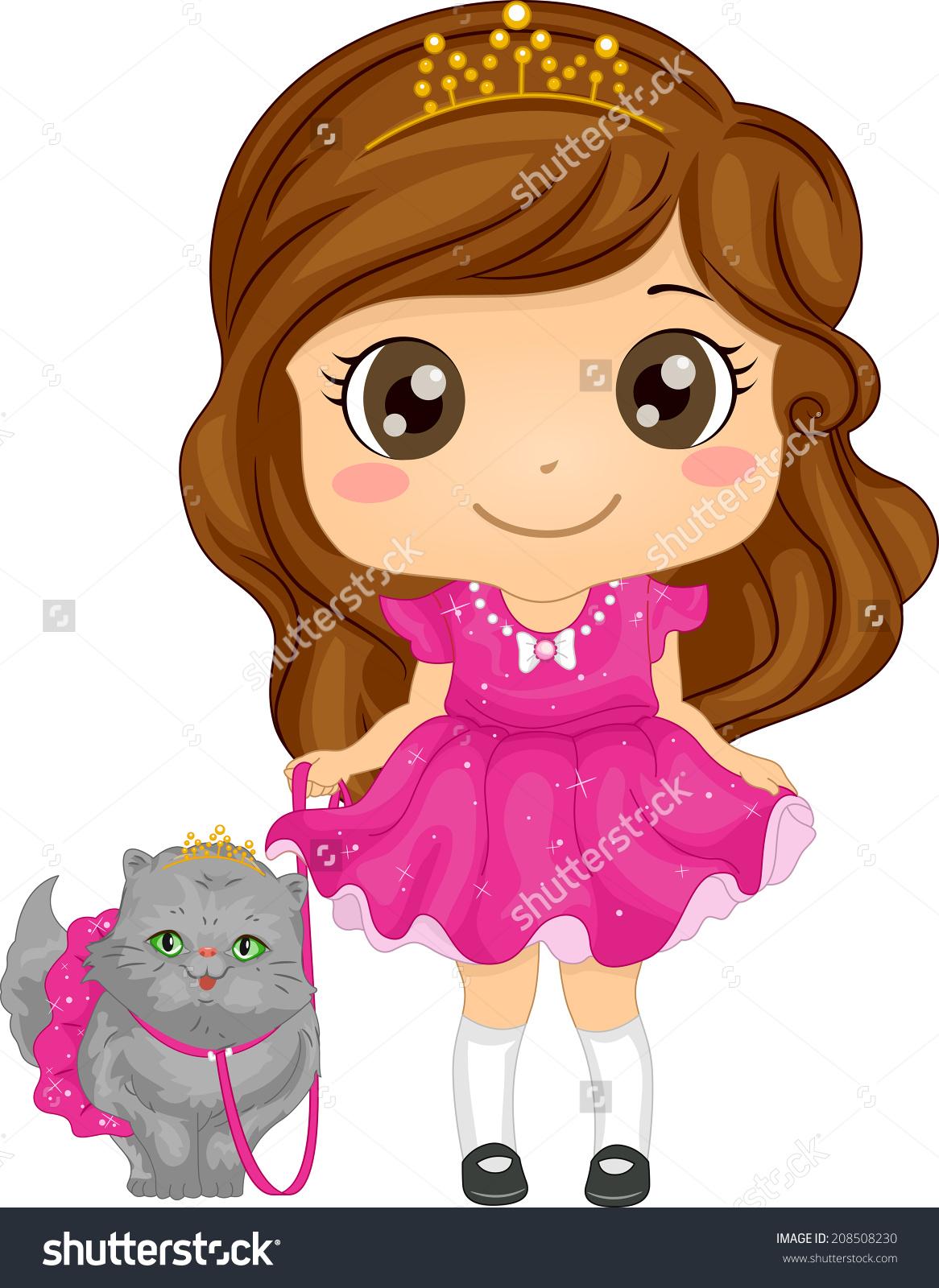 Illustration Cute Girl Dressed Princess Taking Stock Vector.