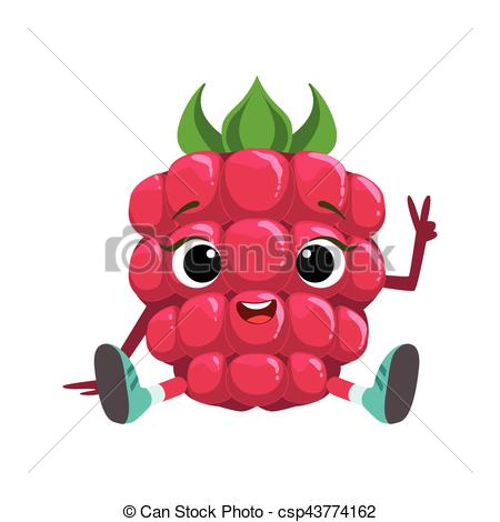 Clip Art Vector of Big Eyed Cute Girly Raspberry Character Sitting.