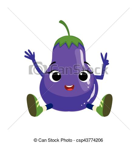 Vector Clipart of Big Eyed Cute Girly Eggplant Character Sitting.