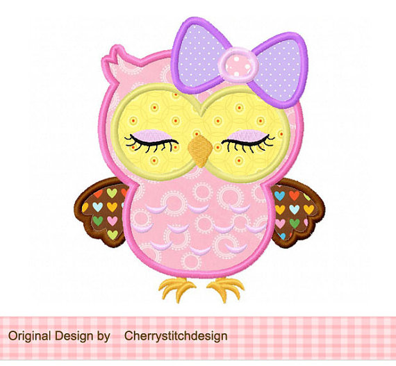 Cute girly owl with bow 02.