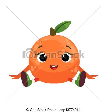 Vector Clip Art of Big Eyed Cute Girly Orange Character Sitting.