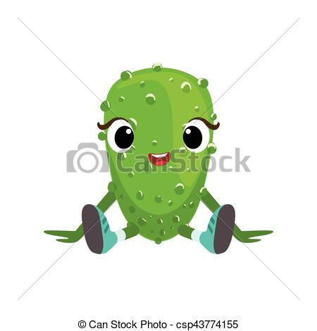 Clipart Vector of Big Eyed Cute Girly Cucumber Character Sitting.