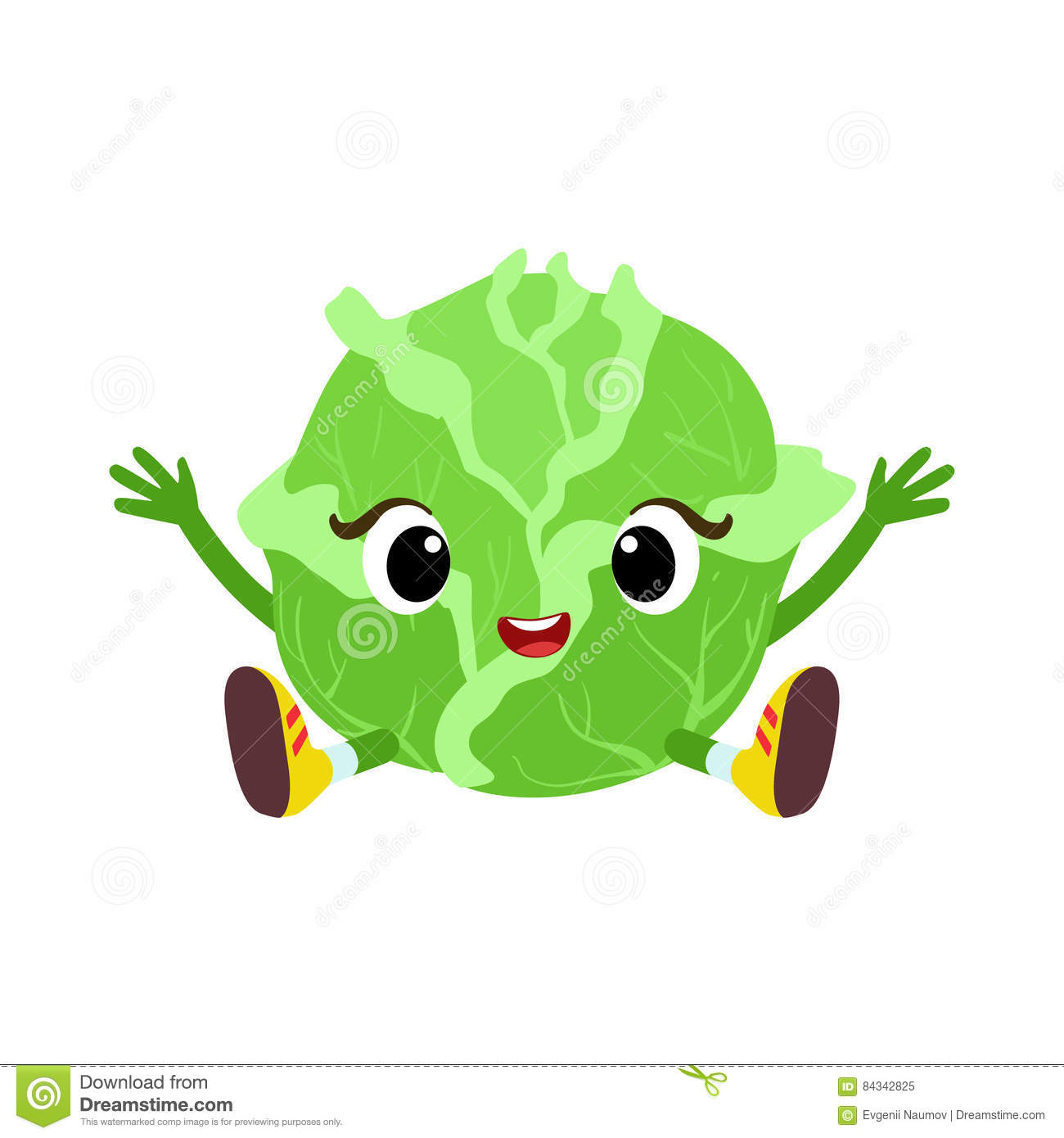 Big Eyed Cute Girly Cabbage Character Sitting, Emoji Sticker With.