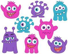 Girly Monster Eyes Digital Clip Art, Cute Monster Eyes, Girlish.