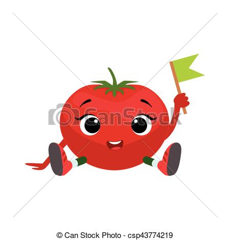Vector Clip Art of Big Eyed Cute Girly Tomato Character Sitting.