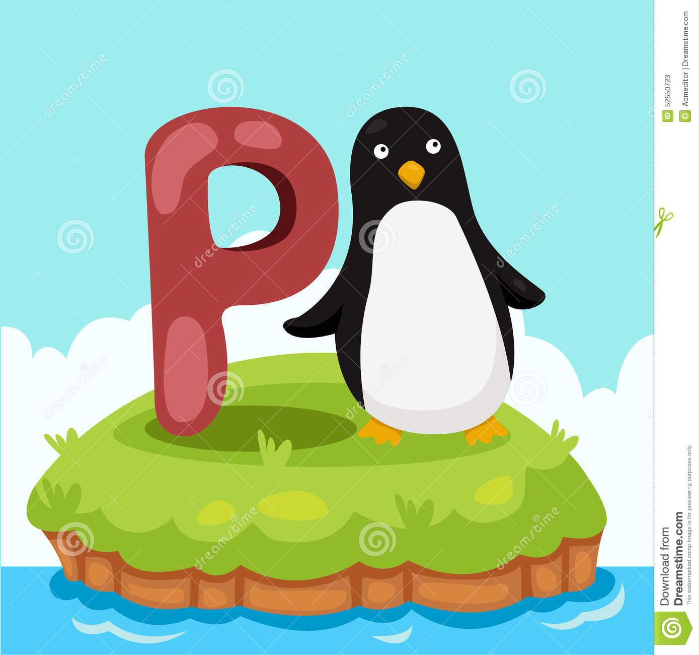 Illustrator Of Letter'P Is For Penquin' Stock Vector.