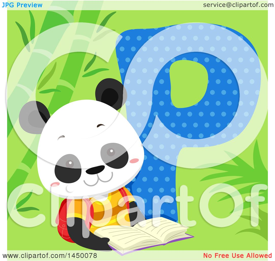 Clipart Graphic of a Cute Panda with the Letter P.