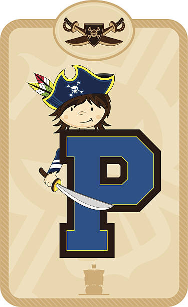Cute Pirate Learning Letter P Clip Art, Vector Images.