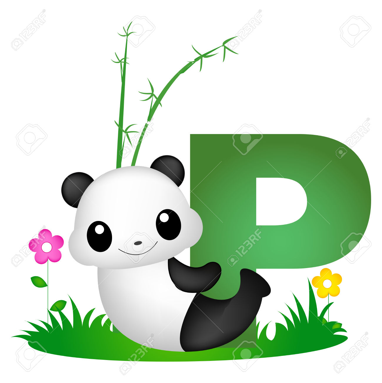 Colorful Animal Alphabet Letter P With A Cute Panda Flash Card.