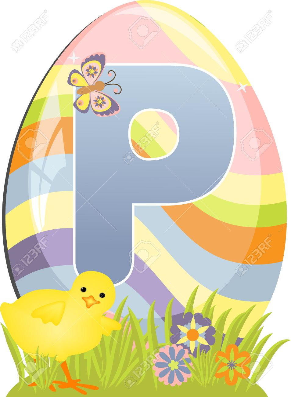 Cute Initial Letter P For Easter Design Royalty Free Cliparts.