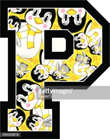 Cute Penguins Learning Letter P Vector Art.