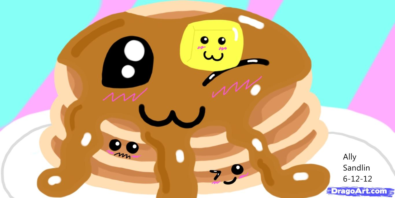 How to Draw Kawaii Pancakes, Step by Step, Food, Pop Culture, FREE.