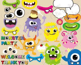 Monsters Clipart, Monsters Party clip art (CG024), Monster Mouth.