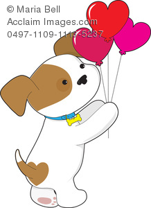 Cute Puppy Holding Heart Balloons for Valentine's Day.