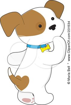 Cute Cartoon Dogs Clip Art.