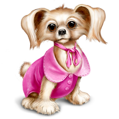 Cute Puppy Illustrations, Dressed Yorkshire Dog Clipart.