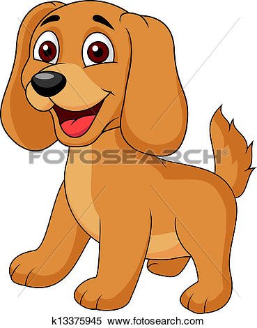 Clipart of Cute puppy cartoon k13375945.